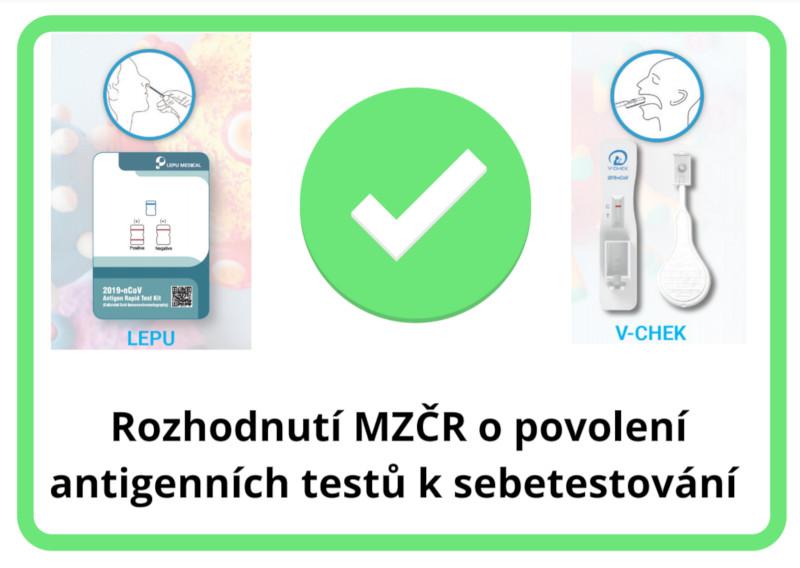 Rozhodnutí MZČR o povolení antigenních testů k sebetestování